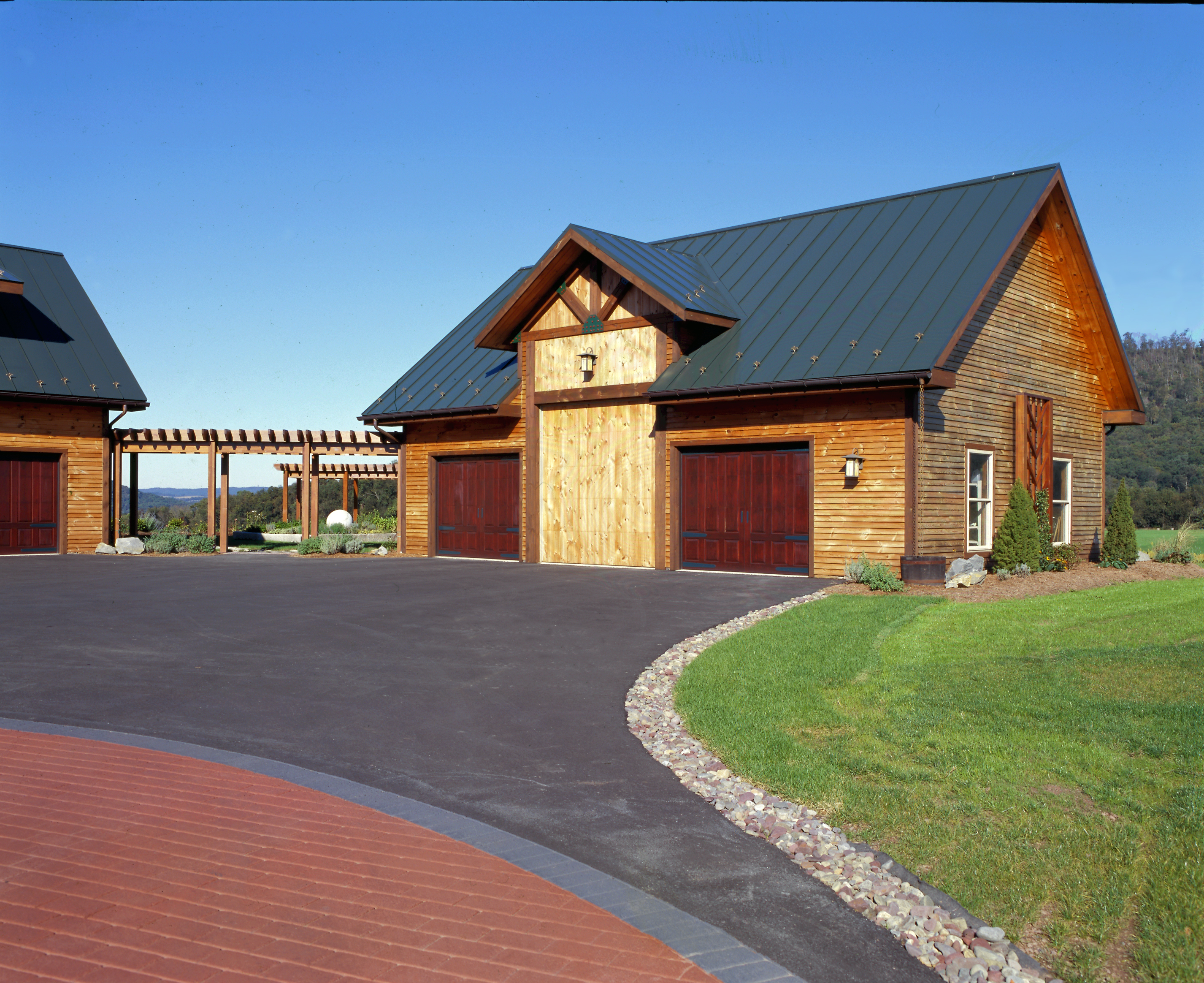 Landscaping for your new timberhaven log home for Brick cabin