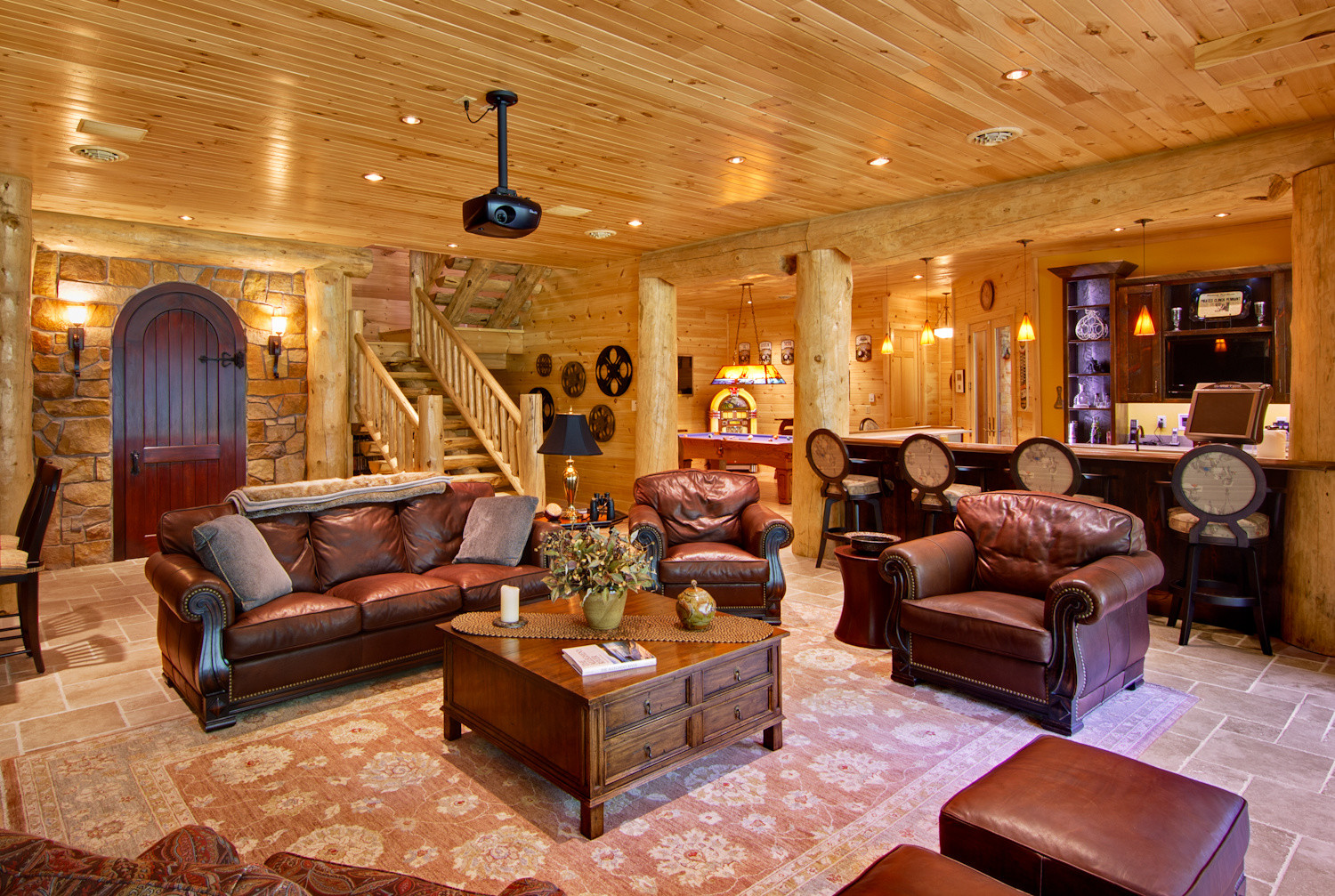 Leather furniture in home theater room  Indoor entertainment areas  log  homes  log cabinIncorporating Indoor Entertainment Areas Into Your Log Home. Log Home Interior Photos. Home Design Ideas