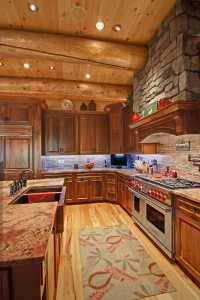 large kitchen area of log home, innovative kitchen appliances, log homes, log cabin homes, log cabins, post and beam homes, timberframe homes, timber frame homes, laminated logs, engineered logs, floor plan designs, kiln dried logs, Timberhaven local reps, log homes in Pennsylvania, log homes in PA, Timberhaven Log Homes, Timberhaven Log & Timber Homes