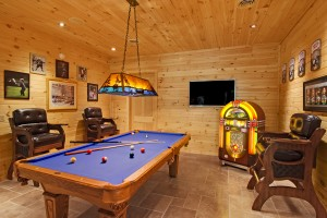 pool table in game room of log home, Indoor entertainment areas, log homes, log cabin homes, log cabins, post and beam homes, timberframe homes, timber frame homes, laminated logs, engineered logs, floor plan designs, kiln dried logs, Timberhaven local reps, log homes in Pennsylvania, log homes in PA, Timberhaven Log Homes, Timberhaven Log & Timber Homes
