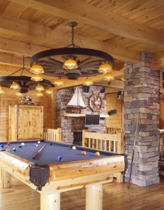 pool table in log home, Indoor entertainment areas, log homes, log cabin homes, log cabins, post and beam homes, timberframe homes, timber frame homes, laminated logs, engineered logs, floor plan designs, kiln dried logs, Timberhaven local reps, log homes in Pennsylvania, log homes in PA, Timberhaven Log Homes, Timberhaven Log & Timber Homes