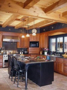 contrasting kitchen elements in log home, innovative kitchen appliances, log homes, log cabin homes, log cabins, post and beam homes, timberframe homes, timber frame homes, laminated logs, engineered logs, floor plan designs, kiln dried logs, Timberhaven local reps, log homes in Pennsylvania, log homes in PA, Timberhaven Log Homes, Timberhaven Log & Timber Homes