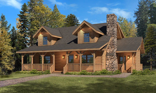 September super savigs mountain view i log home package for Mountain view floor plans