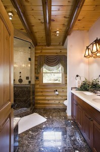stunning bathroom with marble floor, walk-in showers, log homes, log cabin homes, log cabins, post and beam homes, timberframe homes, timber frame homes, laminated logs, engineered logs, floor plan designs, kiln dried logs, Timberhaven local reps, log homes in Pennsylvania, log homes in PA, Timberhaven Log Homes, Timberhaven Log & Timber Homes