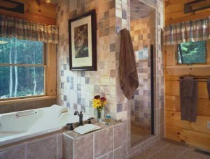 walk in shower with Jacuzzi tub, walk-in showers, log homes, log cabin homes, log cabins, post and beam homes, timberframe homes, timber frame homes, laminated logs, engineered logs, floor plan designs, kiln dried logs, Timberhaven local reps, log homes in Pennsylvania, log homes in PA, Timberhaven Log Homes, Timberhaven Log & Timber Homes