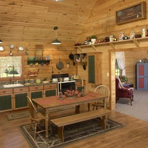 dining room table and kitchen area of log home, moshannon log home package, log homes, log cabin homes, log cabins, post and beam homes, timberframe homes, timber frame homes, laminated logs, engineered logs, floor plan designs, kiln dried logs, Timberhaven local reps, log homes in Pennsylvania, log homes in PA, Timberhaven Log Homes, Timberhaven Log & Timber Homes