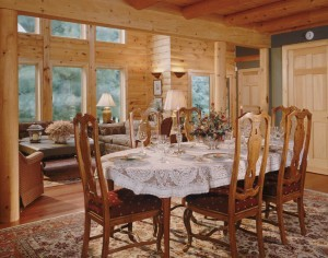 dining room table set for dinner, happy thanksgiving message, log homes, log cabin homes, log cabins, post and beam homes, timberframe homes, timber frame homes, laminated logs, engineered logs, floor plan designs, kiln dried logs, Timberhaven local reps, log homes in Pennsylvania, log homes in PA, Timberhaven Log Homes, Timberhaven Log & Timber Homes