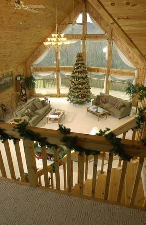 log christmas decorations in great room with big window merry christmas log homes log