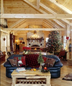 christmas decorations in great room with cathedral ceiling, merry christmas, log homes, log cabin homes, log cabins, post and beam homes, timberframe homes, timber frame homes, laminated logs, engineered logs, floor plan designs, kiln dried logs, Timberhaven local reps, log homes in Pennsylvania, log homes in PA, Timberhaven Log Homes, Timberhaven Log & Timber Homes