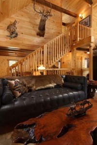 living room with cathedral ceiling and buck on wall, cabin living, log homes, log cabin homes, log cabins, post and beam homes, timberframe homes, timber frame homes, laminated logs, engineered logs, floor plan designs, kiln dried logs, Timberhaven local reps, log homes in Pennsylvania, log homes in PA, Timberhaven Log Homes, Timberhaven Log & Timber Homes