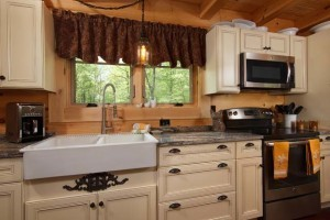 glazed kitchen cabinets in log home, dream home budget, log homes, log cabin homes, log cabins, post and beam homes, timberframe homes, timber frame homes, laminated logs, engineered logs, floor plan designs, kiln dried logs, Timberhaven local reps, log homes in Pennsylvania, log homes in PA, Timberhaven Log Homes, Timberhaven Log & Timber Homes