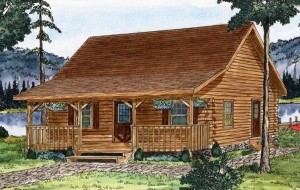 watercoloring of cabin by a lake, juniata log home package, log homes, log cabin homes, log cabins, post and beam homes, timberframe homes, timber frame homes, laminated logs, engineered logs, floor plan designs, kiln dried logs, Timberhaven local reps, log homes in Pennsylvania, log homes in PA, Timberhaven Log Homes, Timberhaven Log & Timber Homes