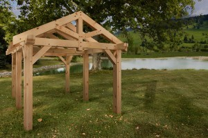timber frame pavilion, outdoor wooden structures, outdoor timber structures, timberframe pavilion, log pavilion, pavilion for log home, Timberhaven, Timberhaven Log & Timber Homes, PA Manufacturer, outdoor timber structure