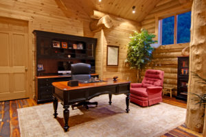 office with desk and chair in log home, Home office, log homes, log cabin homes, log cabins, post and beam homes, timberframe homes, timber frame homes, laminated logs, engineered logs, floor plan designs, kiln dried logs, log homes in Pennsylvania, log homes in PA, Timberhaven Log Homes, Timberhaven Log & Timber Homes