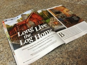 magazine spread sitting on counter, Best home, log homes, log cabin homes, log cabins, post and beam homes, timberframe homes, timber frame homes, laminated logs, engineered logs, floor plan designs, kiln dried logs, Timberhaven local reps, log homes in Pennsylvania, log homes in PA, Timberhaven Log Homes, Timberhaven Log & Timber Homes