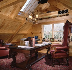 big desk and captain chair in log home office, Home office, log homes, log cabin homes, log cabins, post and beam homes, timberframe homes, timber frame homes, laminated logs, engineered logs, floor plan designs, kiln dried logs, log homes in Pennsylvania, log homes in PA, Timberhaven Log Homes, Timberhaven Log & Timber Homes