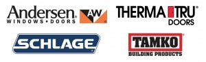 group of vendor logos, Andersen, Therma-Tru, Schlage, Tamko, introduction, log homes, log cabin homes, log cabins, post and beam homes, timberframe homes, timber frame homes, laminated logs, engineered logs, floor plan designs, kiln dried logs, Timberhaven local reps, log homes in Pennsylvania, log homes in PA, Timberhaven Log Homes, Timberhaven Log & Timber Homes