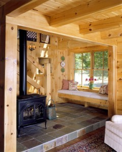Window Seat In A Log Home, log home, log home living, custom features, white pine, Timberhaven