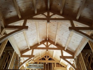 timber frame truss in home, differences, log vs. timber frame homes, different home design options, log homes, log cabin homes, log cabins, post and beam homes, timberframe homes, timber frame homes, laminated logs, engineered logs, floor plan designs, kiln dried logs, log homes in PA, Timberhaven Log Homes, Timberhaven Log & Timber Homes