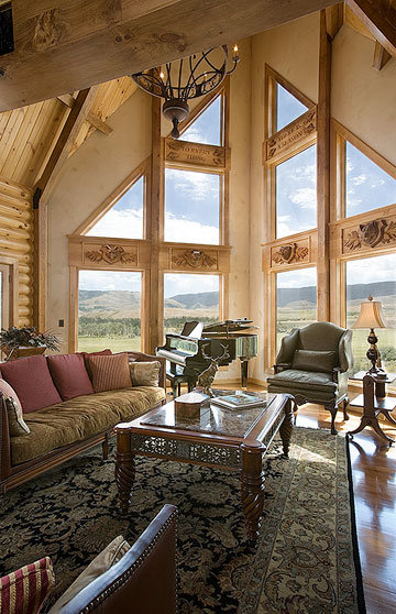 Elegant Log Home Great Room with Carved Wood Inlays