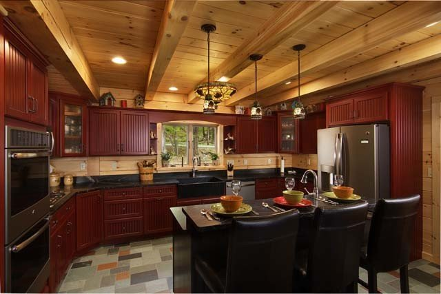 Red Kitchen Cabinetry And Tile Floor, Log Home Living, Log Homes, Log Cabin