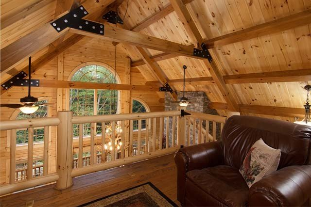 Loft Area With Wooden Ceiling, Log Home Living, Log Homes, Log Cabin Homes