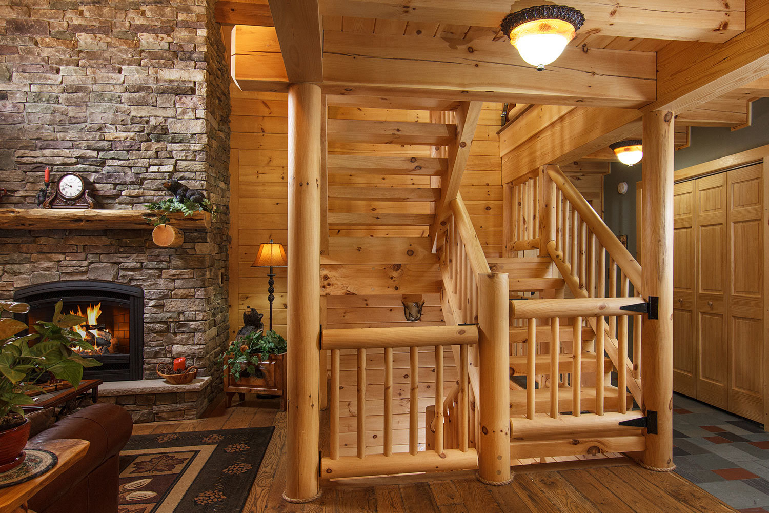 Log Railing And Balusters, Exposed Heavy Timber Stairway, Half Log  Handcrafted Stair Systems,