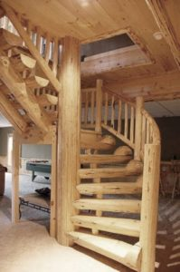handcrafted spiral stair systems, Half log handcrafted stair systems, custom stairs in log home, stair systems, wooden stair systems, custom stair systems, custom stairs, wooden stairs, Timberhaven stair options