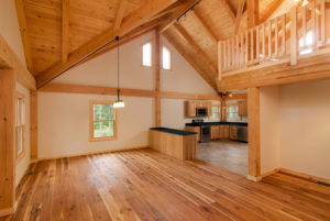 wide open space in post beam home, radiant floor heating, log homes, log cabins, timber frame homes, laminated logs, engineered logs, floor plan designs, kiln dried logs, log homes in Pennsylvania, Timberhaven Log Homes, Timberhaven Log & Timber Homes