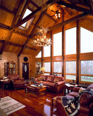 Log Home Living Room from Timberhaven Log Homes