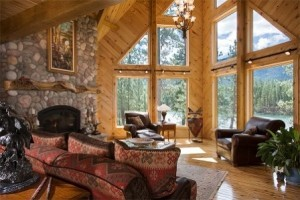 fireplace and wall of glass, focal features, log homes, log cabins, timber frame homes, laminated logs, engineered logs, floor plan designs, kiln dried logs, log homes in Pennsylvania, Timberhaven Log Homes, Timberhaven Log & Timber Homes