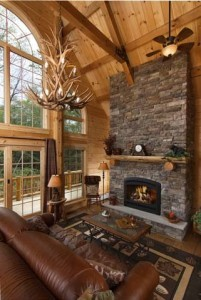 antler chandelier in great room, bright ideas, log homes, log cabins, timber frame homes, laminated logs, engineered logs, floor plan designs, kiln dried logs, log homes in Pennsylvania, Timberhaven Log Homes, Timberhaven Log & Timber Homes