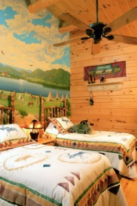 mural painted on wall, focal features, log homes, log cabins, timber frame homes, laminated logs, engineered logs, floor plan designs, kiln dried logs, log homes in Pennsylvania, Timberhaven Log Homes, Timberhaven Log & Timber Homes