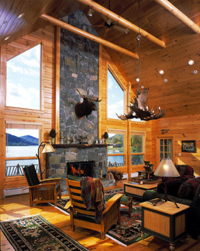 Log And Timber Home Focal Features Fireplaces Accent Walls