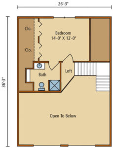 Moshannon second level floor plan, fall feature home, log homes, log cabins, timber frame homes, laminated logs, engineered logs, floor plan designs, kiln dried logs, log homes in Pennsylvania, Timberhaven Log Homes, Timberhaven Log & Timber Homes