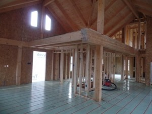 radiant floor heating installation, log homes, log cabins, timber frame homes, laminated logs, engineered logs, floor plan designs, kiln dried logs, log homes in Pennsylvania, Timberhaven Log Homes, Timberhaven Log & Timber Homes