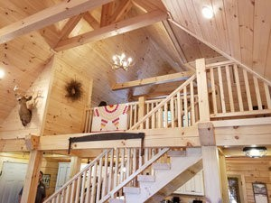 cathedral ceiling and loft in log home, log home dreams, log homes, log cabins, timber frame homes, laminated logs, engineered logs, floor plan designs, kiln dried logs, log cabins in Pennsylvania, Timberhaven Log Homes, Timberhaven Log & Timber Homes