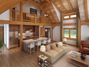 Craftsman Timber Frame Living Area, Craftsman Timber Frame Design, craftsman timber frame fall feature home, timber frame homes, small timber frame designs, Timberhaven