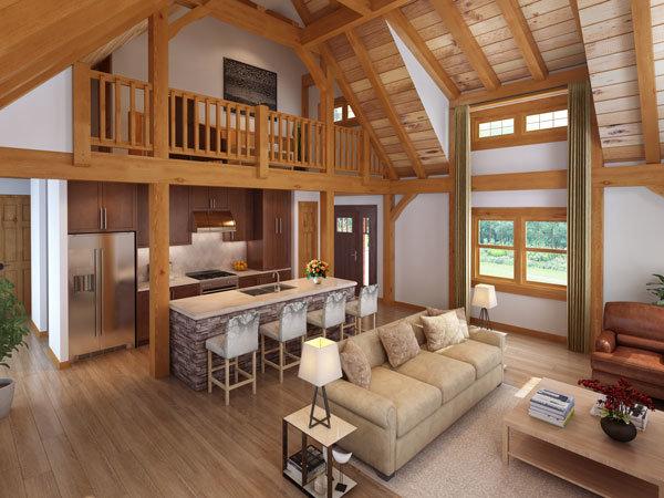 Living Area Of Timber Frame Home, Timber Frame Rendering, Timber Frame  Design, Craftsman