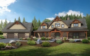 timber frame home with exterior wood accents, incorporating wood materials, timber frame homes, timbeframe homes, Timberhaven