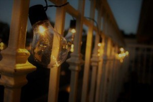 lights wrapped around railing, better backyard, outdoor living, outdoor living areas, entertainment areas