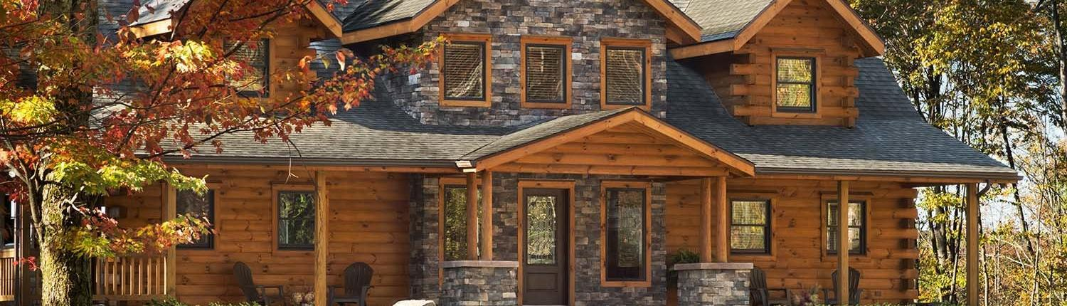 Log cabin features wood and stone combo