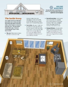 page 2 of magazine article, modified sullivan log home, log home plan, log home design, Timberhaven Log & Timber Homes, Timberhaven, log home living magazine