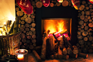 fire in fireplace, log homes, heat pumps for your log home, heat pumps, heating and cooling a log home, Timberhaven
