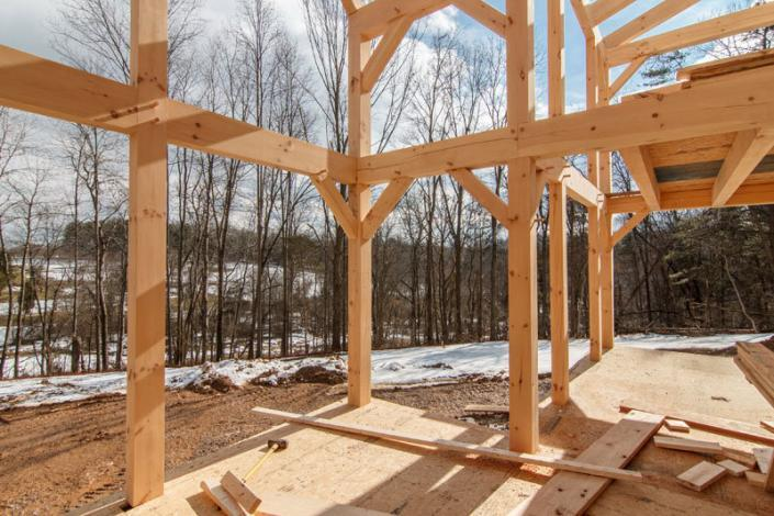 Frame work of timber frame home