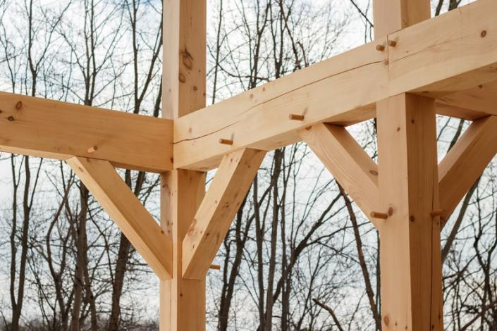 Multiple timber frame connections