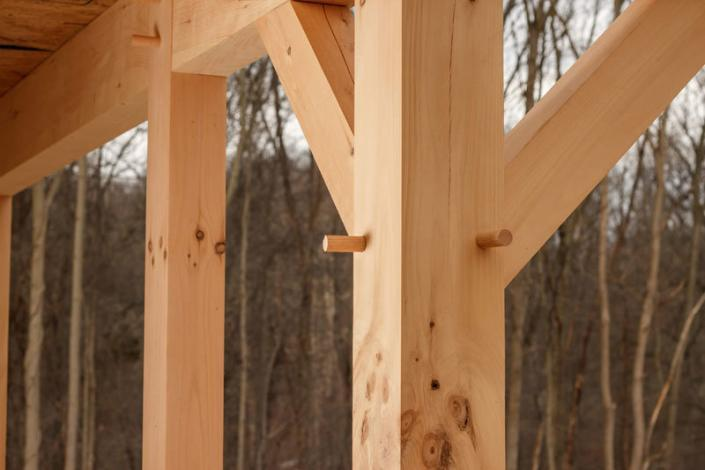 Wooden dowels of timber frame construction