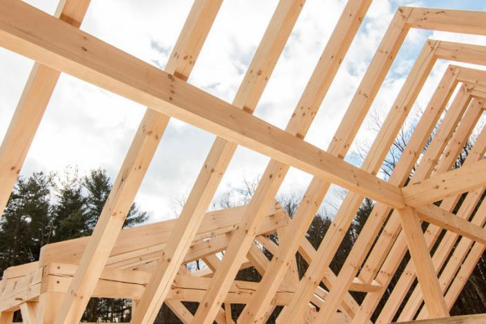 Framework of a timber frame roof