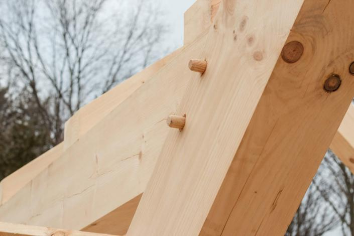 Wooden pegs in timber frame home