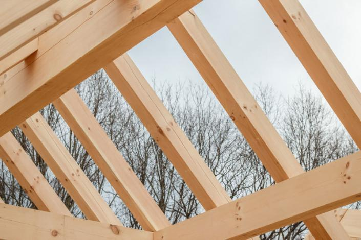 Timber frame roof under construction closeup